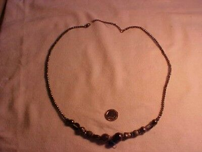 Vintage Style Necklace Silver Colour Beads with Various Stones & Metal Shapes CH
