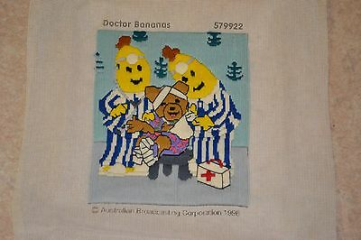 Vintage 1996 Doctor Bananas in Pyjamas Completed Tapestry Canvas Longstitch ABC