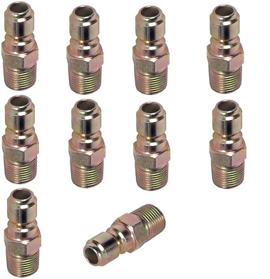 "Pressure Washer Hose Quick Coupler Plug 3/8"" MPT - 10 Pack"