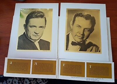 4 Gold Foil Prints Country Star Johnny Cash Jim Reeves Loretta Lynn Minnie Pearl