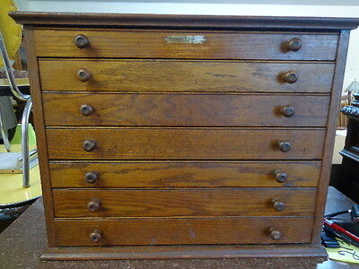 Swartchild Co watchmaker oak WOOD cabinet FREE SHIP VERY RARE ANTIQUE! 7 drawers