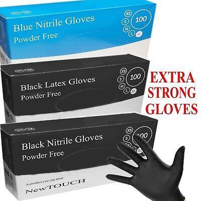 NewTOUCH Heavy Duty Powder Free Black Nitrile Latex Gloves TATTOO MECHANIC 100