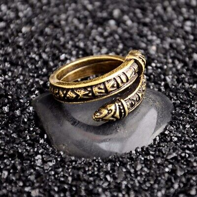 Retro Adjustable Norse Nordic Viking Rune Dragon Ring Retro Men Punk Jewelry