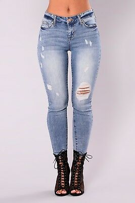 Womens Ladies High Waisted Blue Skinny Fit Jeans Stretch Denim Size 6-16