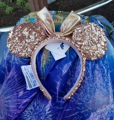 NWT Authentic ROSE GOLD Minnie Mouse Ears Headband New Disney
