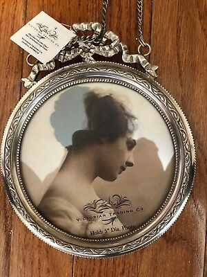 NIB Victorian Trading Co French Ribbon Silverplated  Round Hanging Photo Frame