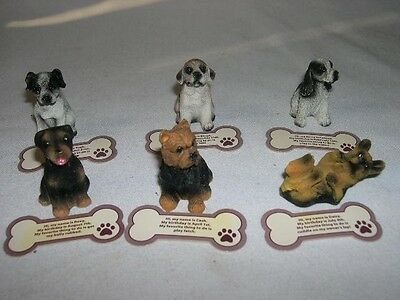 (6) Little Collectible Dog Figurines W/ Bone Shaped Paper Name Tags