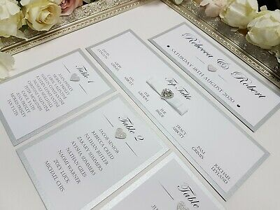 GLITTER WEDDING TABLE Seating Plan Cards Table Numbers Personalised