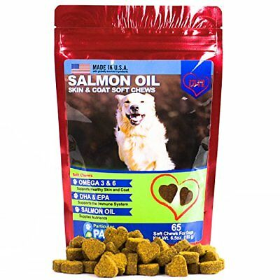 Salmon Oil for Dogs - Treats - All-Natural Omega 3 6, DHA, EPA and Fish