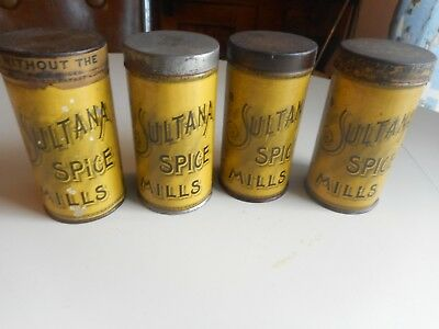 4 Antique Tin Litho A&P Sultana Spice Tins.  Early Tin Spice Canisters
