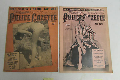 Lot of 2 Vintage Police Gazette October 1938 & August/September 1940 LOOK!!