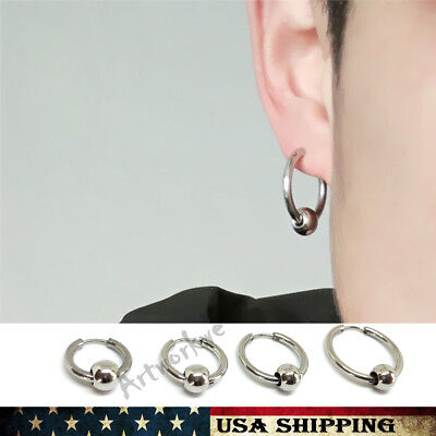 Stainless Steel Circle Beads Huggie Hinged Hoop Earrings for Men Women