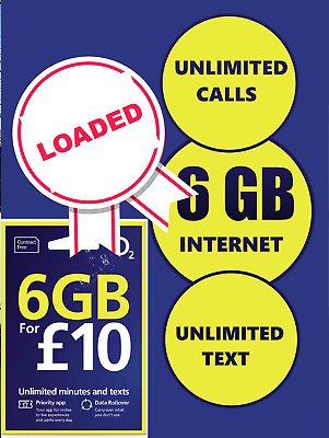 O2 Classic Sim Card Pay As You Go Standard Micro & Nano LOADED £10 CREDIT PACK