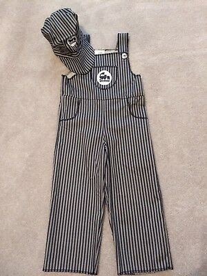 Train Conductor Engineer 2 Piece 3T-4T Striped Overalls Costume