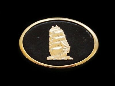 NG13135 *NOS* VINTAGE 1970s **CLIPPER SHIP** BOAT ART SOLID BRASS BELT BUCKLE