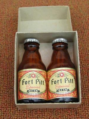 Vintage 1940's-50's Fort Pitt Beer Salt Pepper Shakers NOS in Box Pittsburgh Pa