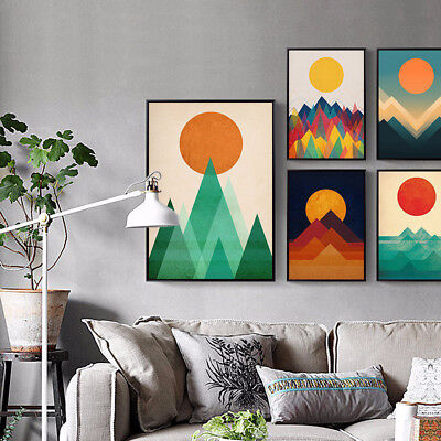 LC_ NORDIC SUNRISE GEOMETRIC CANVAS PRINT Unframed HOME WALL DECOR PAINTING FA