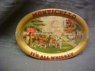 Monticello Special Reserve Whiskey Gold Colored Oval Change Tray W/scene