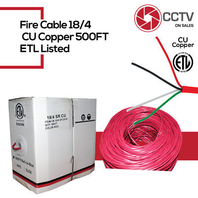 Fire Cable Stranded Bare Copper 500FT ETL 18/2&18/4 Unshielded FRPVC Jacket Red