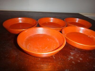 Akro Agate Play Time Glass Set of 5 Red Ribbed Side Bowls 3 1/2 x 7/8""