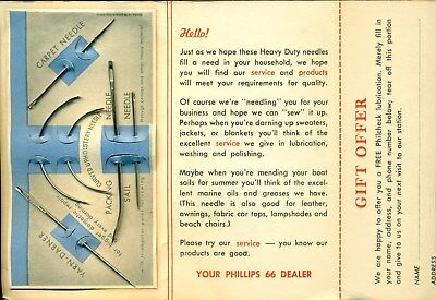 1960s PHILLIPS 66 Serious Heavy Duty Sewing Needle set