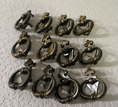12 Antique Brass Finish BPC 20628 Dresser Drawer Pulls/Handles With Screws