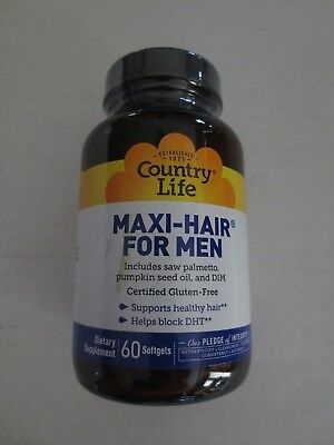 Country Life Maxi Hair For Men 60 Softgels Exp 03 18