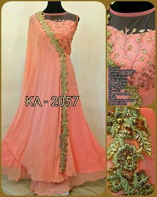 indo western gown size 42 US L-XL peach and gold long floor length