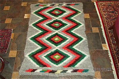 large Antique wool rug blanket hand woven colorful indian