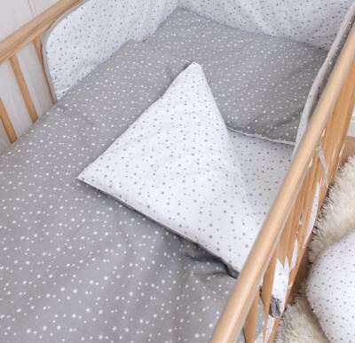 4 Piece Duvet Covers Cot Bed Bedding Set 120x90cm - Stars White & Grey