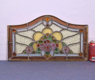 Antique French Stained Glass Panel with Brass and Leaded Framing (2 AVAILABLE)