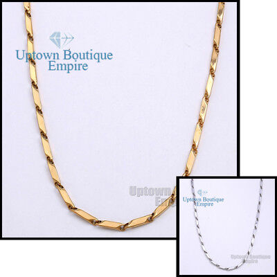"18-36""Gold Silver Stainless Steel 4 mm Arrow Bullet Necklace Chain for Men's"