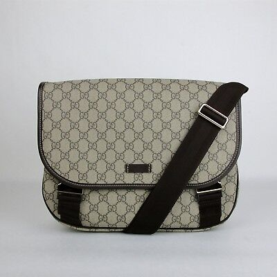 e533afd44a32 Gucci Beige Ebony GG Plus Coated Canvas Messenger Bag with 2 Buckles 201732  8588
