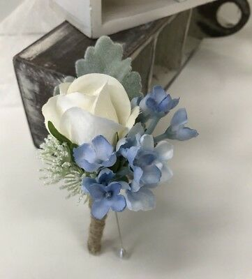 Silk Wedding Flowers Groom Button hole Rustic White Blue Flower Button holes