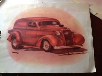 Hot Rod Red Vintage original new old stock Iron On t-shirt transfer NOS