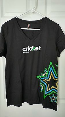 Cricket Wireless V Neck T Shirt Xl   Ladies, New Black With Stars