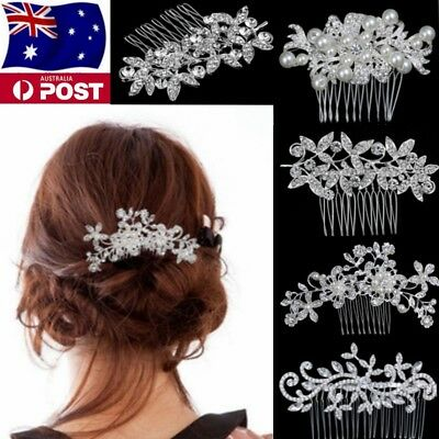 Bridal wedding Flower Crystal Rhinestones Pearls Hair Clip Comb Diamante Women