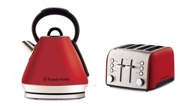 NEW Russell Hobbs Heritage Vogue Slice Toaster & Kettle Set Red FAST SHIPPING
