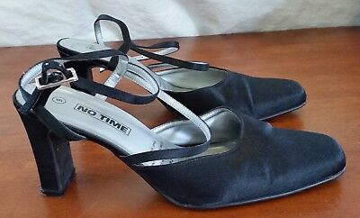 Vintage Retro 90s NO TIME Satin Fabric BLACK Block Heel Ankle Strap Shoes size 9
