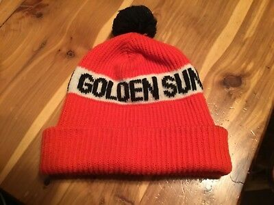 VTG Golden Sun Feeds Stocking Hat Farmer Seed Advertising Vintage Farming Ag