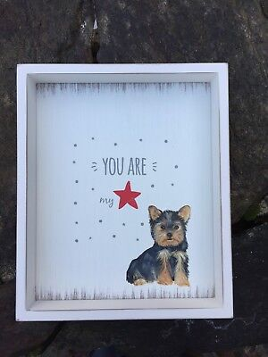 Hand Painted Yorkshire Terrier Yorkie Wood Wall Plaque