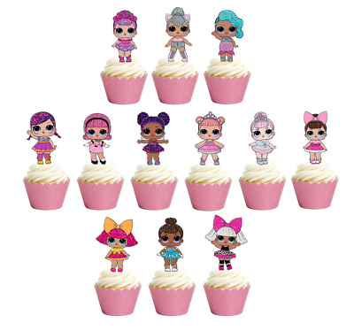 12x Glitter LOL Dolls Stand up Edible Cupcake Cake Toppers Birthday Images L.O.L