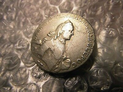 RUSSIA 1762-MMA AM RARE CATHERINE ll SILVER MOSCOW MINT ROUBLE