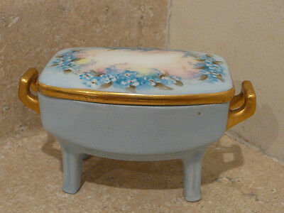 Mz Austria Porcelain China Jewelry Box Casket Jar Hp Blue Floral Moritz Zdekauer