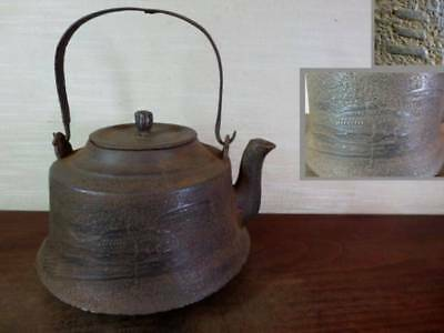 Japanese Antique KANJI old Iron Tea Kettle Tetsubin teapot Chagama 2181