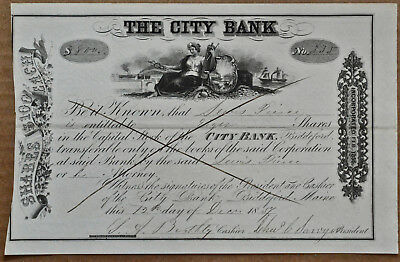 The City Bank of Biddeford Maine - 1857- 8 shares