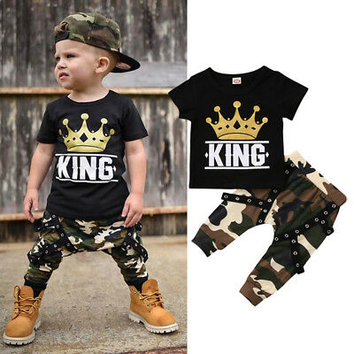 AU Casual Toddler Kid Baby Boys Tops T-shirt Camo Hip-Hop Pants 2PCS Outfits Set