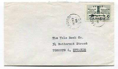 Canada BC British Columbia - Taghum 1958 Split Ring Cancel on Cover