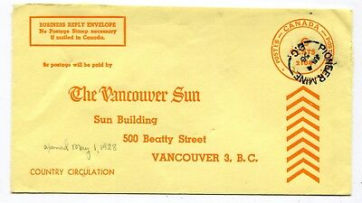 Canada BC British Columbia - Pioneer Mine 1956 Split Ring Cancel on REPLY Cover