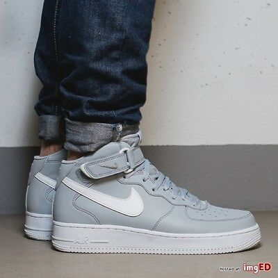 quality design b3047 dbfe9 Mens Nike Air Force 1 One Mid Sneakers New, Wolf Grey / White Leather 315123